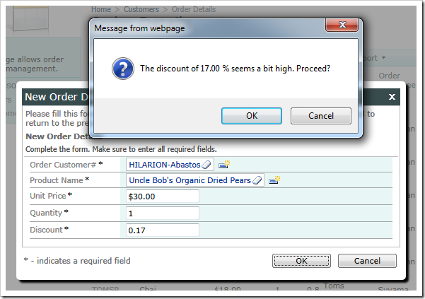 A confirmation is displayed when a user tries to Insert or Update a record with a discount higher than 15%