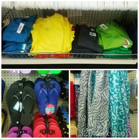 dollar store shirts   flip flops   scarves