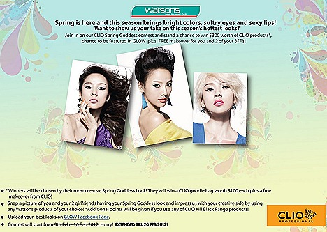 WATSONS CLIO SPRING GODDESS – WIN $300 PRODUCTS   GLOW MAGAZINE FEATURE