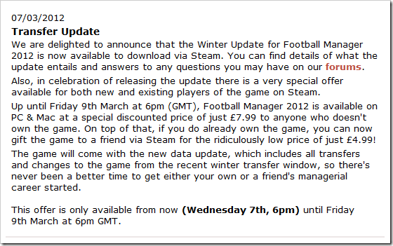Football Manager 2012 patch 12.2 is out