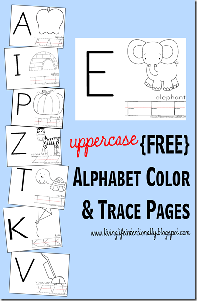 Preschool Worksheets - Uppercase Alphabet Color & Trace Pages #alphabet #preschool
