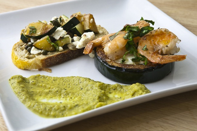 Zucchini Bruschetta Zucchini Rings and Shrimp Zucchini Saffron Puree-1