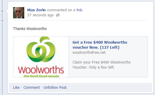 The &quot;Thanks Woolworths&quot; comment appearing on Facebook