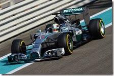 Hamilton nelle prove libere di Abu Dhabi 2014