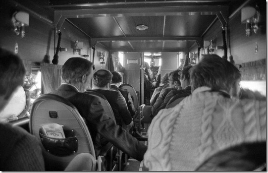 Interior of a Ford Tri-Motor in the livery of Transcontinental Air Transport, the forerunner of Trans World Airlines, as it would have appeared at the inauguration of TWA's transcontinental passenger service in 1929. This aircraft toured the U.S. for the 45th anniversary of TWA's transcontinental service in 1974. The plane is now housed at the McMinnville, Ore., airport and flies at airshows. This photo was made at Weir Cook (now Indianapolis International) Airport.