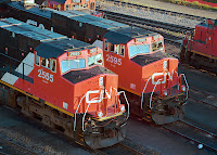 Canadian National Railway locomotives in the Symington Yard in Winnipeg, Manitoba. CN operates approximately 1,500 locomotives and 61,500 freight cars. Photo courtesy CN.