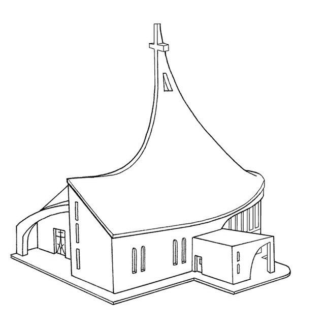 Dibujos de iglesias para colorear for Fachadas de casas modernas para colorear