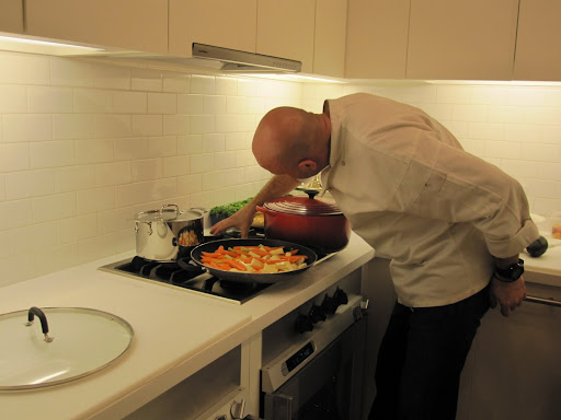 Chef Pierre making sure everything is where it needs to be.