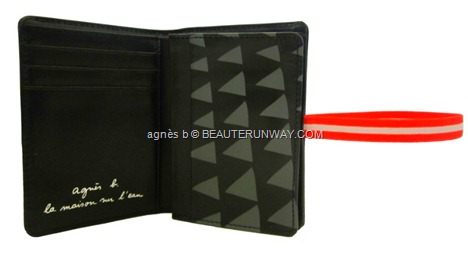 agnès b. 2012 Voyage Summer FAll Winter wristlet pouch, cardholder  passport cover holder black calf leather card compartments red and white strap band LA MAISON SUR L'EAU travel Singapore exclusive collection