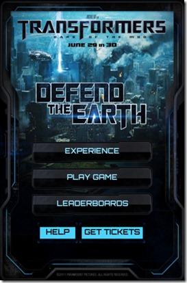 เกม TRANSFORMERS 3: DEFEND THE EARTH สำหรับสาวก Apple เท่านั้น