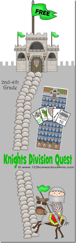 FREE Knights Division Quest is a fun math game to help 3rd grade, 4th grade, 5th grade, and 6th grade students practice division while having fun!! (hands on math, math games, math activities, division worksheets, division games, homeschool)