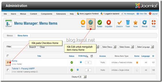 menu Joomla! 1.7 - edit Laman Utama