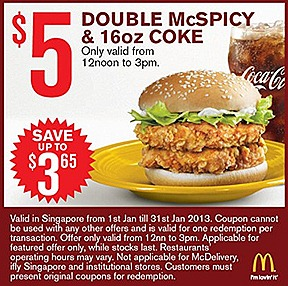 MCDONALDS OFFERS 2013 $5 DOUBLE McSPICY BURGER MCNUGGET 9 PIECE DOUBLE FILET-O-FISH  BIG MAC COKE $1 SUNDAE $2 FRIES JANUARY COMBO MEAL $2 McNugget 6 piece $3 McWings 4 piece Vanilla Cone 2 $1 Small Fries Extra Small Coke
