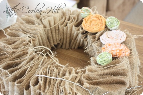 fall burlap rosette wreath