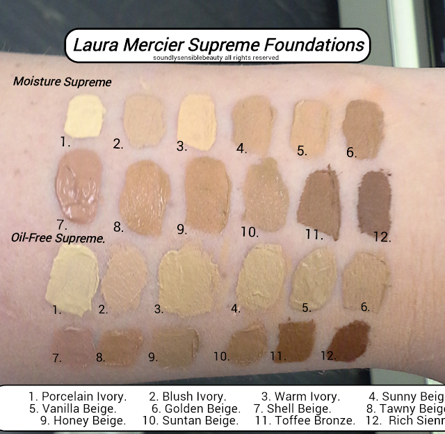 Laura Mercier Moisture Supreme Foundation & Laura Mercier Oil Free Supreme Foundation; Review & Swatches of Shades 1 Porcelain Ivory, 2 Blush Ivory, 3 Warm Ivory, 4 Sunny Beige, 5 Vanilla Beige, 6 Golden Beige,  7 Shell Beige, 8 Tawny Beige, 9 Honey Beige, 10 Suntan Beige, 11 Toffee Bronze, 12 Rich Sienna