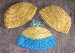 Hats turq and yellow