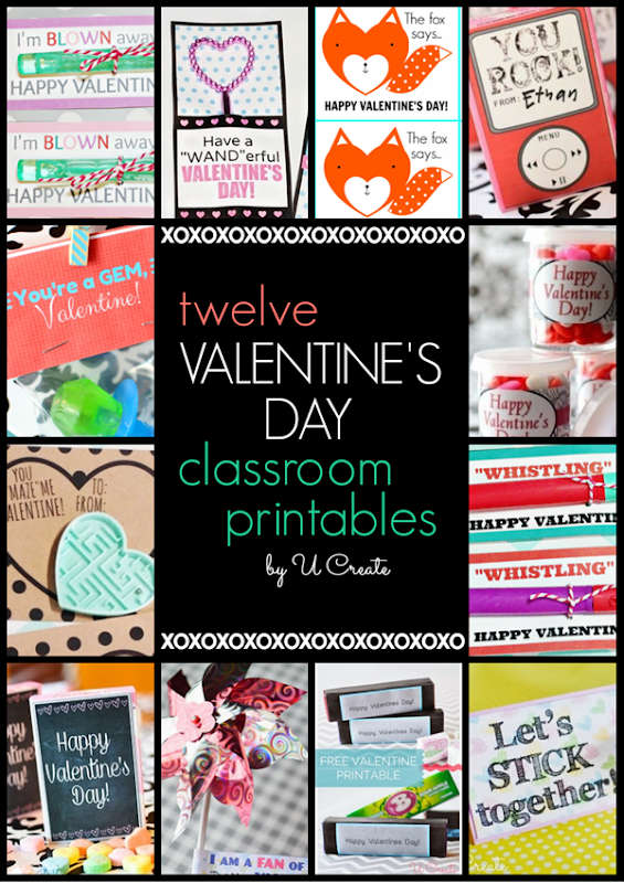 Unique Valentine Printables by U Create - foxes, wands, gems, and more!