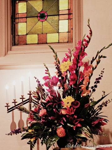 altar flowers in fall colors