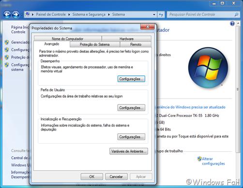 Clique em Configurações avançadas do sistema, no menu esquerdo. Uma janela abrirá. Clique em Configurações, no menu Desempenho.