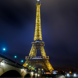 Light streaks under Eiffel ..!! by Kshitij  Saxena - Buildings & Architecture Statues & Monuments ( eiffel tower, paris, light trails, bridge, city of love, start burst,  )