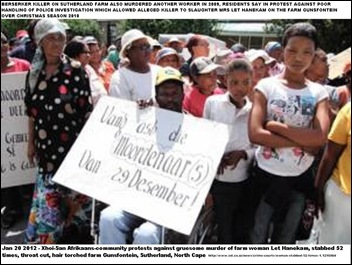 HANEKAM MRS LET MURDERED Afrikaansspeaking KhoiSan community in Northern Cape protesting against psycho killer of Mrs Let Hanekam 41 Jan202012 (2)
