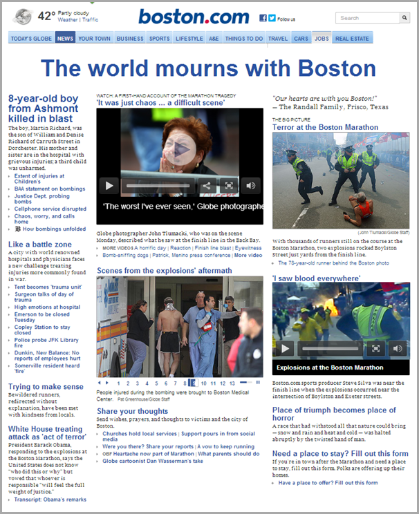 A screen grab of the Boston Globe home page from April 16, 2013.