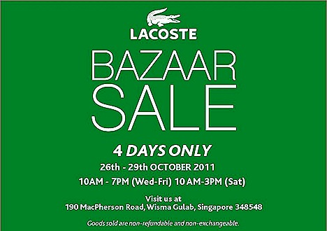Lacoste SALE Bazaar Singapore Royal Sporting House