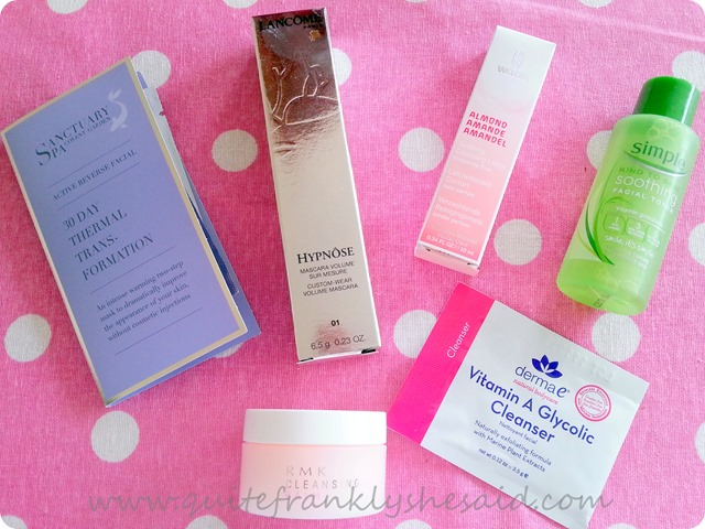 Sanctuary mask Lancome Hypnose Weleda almond cleanser Simple toner RMK cleanser balm