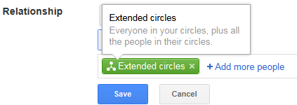 relationship settings on Google+