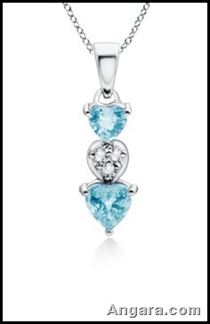 Heart Aquamarine and Diamond Dangling Pendant
