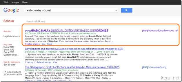 kerul net  submitting url to google scholar