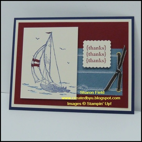 For the Boys, Masculine, Card, Sail Away, VC Rocks, SharonField, Swap, Nautical Expedition, Designer Series Paper, Postage Stamp Punch, Summer Mini, Pretty Postage, Created By You