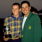 11 Apr 1999: Sergio Garcia and Jose Maria Olazabal of Spain celebrates winning their respective prizes after the 1999 US Masters at the Augusta National GC in Augusta, Georgia, USA. Mandatory Credit: Stephen Munday /Allsport