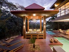 estructura de madera terraza casa de lujo