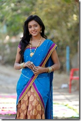 Telugu Actress Vithika Cute Blue Half Saree Photos