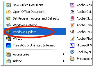 XP-Windows-Update-Selection
