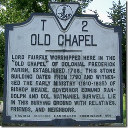 Old Chapel Marker T-2 in Clarke County, VA