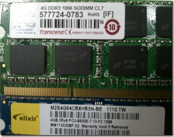 4GB DDR3 1066 DODIMM CL7