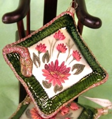 Green Chinoiserie pillow Christmas ornament