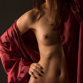 Red Pyjama by Tomas Fensterseifer - Nudes & Boudoir Artistic Nude ( silk, bodypart, nude, low key,  )