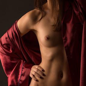 Red Pyjama by Tom Fensterseifer - Nudes & Boudoir Artistic Nude ( silk, bodypart, nude, low key,  )