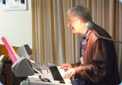 Denis Stewart having a ball on his debut at the Club and playing his Yamaha Tyros 4. Photo courtesy of Dennis Lyons.
