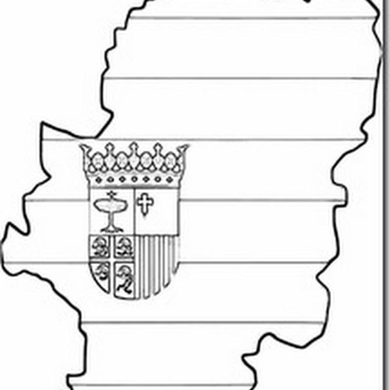 colorear Aragón, bandera, escudo y mapa