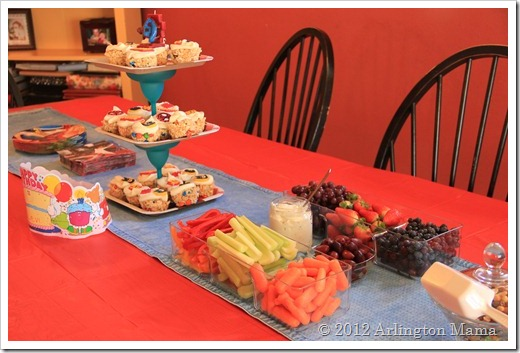 """Superhero Birthday Party"", ""Spiderman Ironman, Captain America"", ""Rice Crispy Treat Cupcakes"", ""Cupcake tower"""