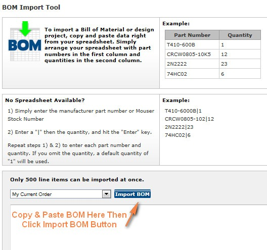 mouser bom import tool