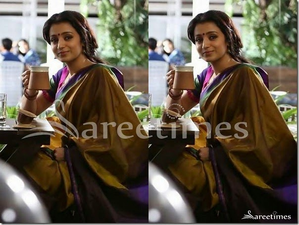 Trisha_Gold_Silk_Saree