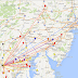 K8GP/R FM08xx QSOs - ARRL Jan VHF SS 2014<br />Marker/line color = highest band completed 50=brown,144=red,222=orange,432=yellow<br />902=green,1.2G=blue,2.3G=purple,3.4G=grey,5.7G=white,10G=gold