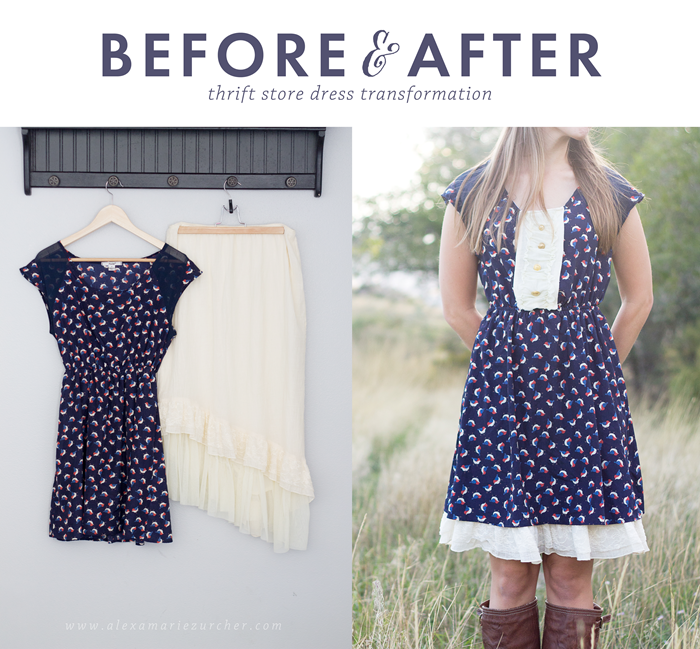 #tagsthrift Before and after thrift store dress refashion #tagsthrift