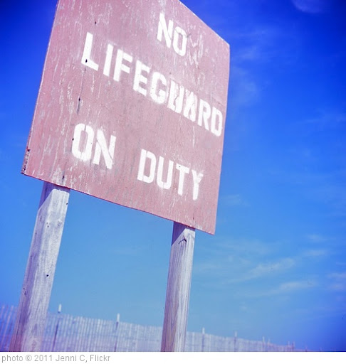 '88 no lifeguard sign537' photo (c) 2011, Jenni C - license: http://creativecommons.org/licenses/by/2.0/