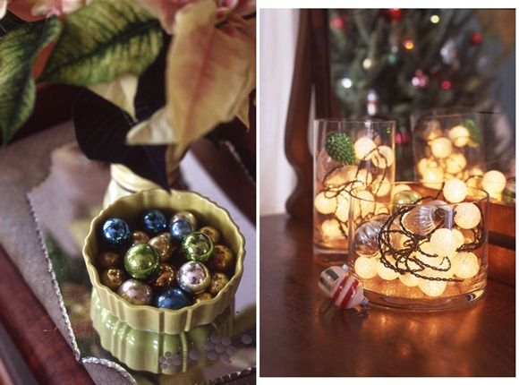 Decoración navideña en floreros